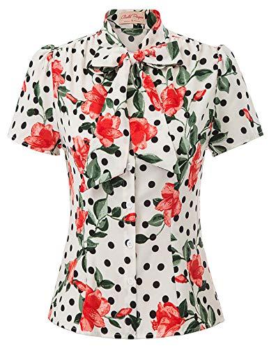 (Women Vintage Floral Shirt Top Short Sleeve Button Down Summer Aloha Shirt Tops Medium, Floral-Dot)
