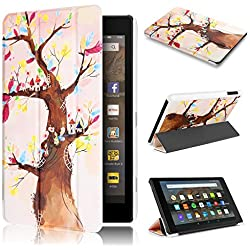 Fire HD 8 Case 7th generation 2017 Release, Swees Slim Folio Protective Leather Smart Case Cover with Stand for All New Amazon Fire HD 8 Tablet with alexa 7th gen 2017 Kids Friendly, Love Tree