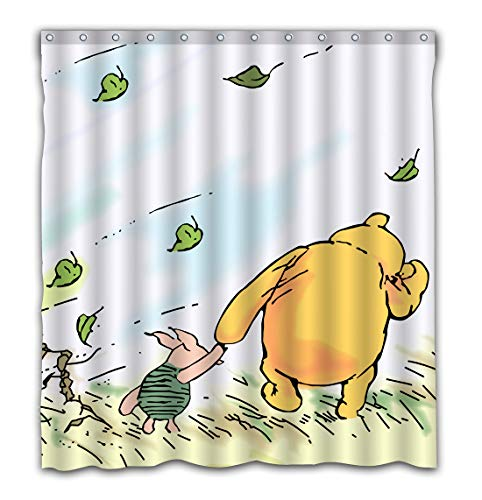 Nicoge Custom Bear Winnie Pooh Design Printing Waterproof Fabric Shower Curtain Bright Bubble Design for Bathroom Decor - 60x72 Inches