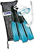 Cressi Rondinella Fins Plus Onda Mask Plus Gringo Snorkeling Set - Aquamarine/Black ,2.5/3.5 UK