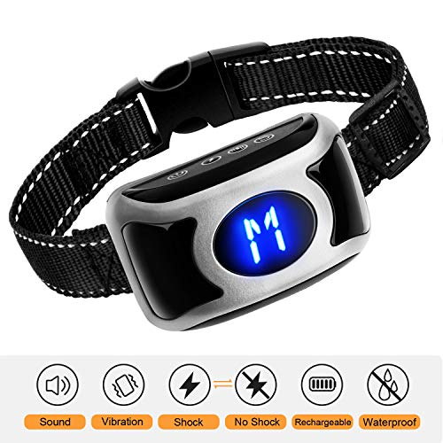Fenvella Dog Bark Collar[2018 Newest] Waterproof,USB Rechargebale Anti Bark Training Collar with Sound/Vibration/Shock,Harmless and Humane Bark Control for Small,Medium,Large Dogs For Sale