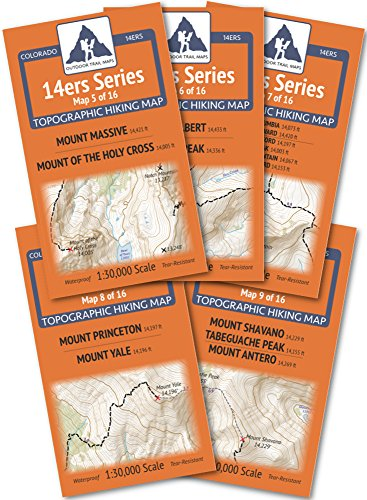 Colorado 14ers Series Sawatch Range Map Pack by Outdoor Trail Maps