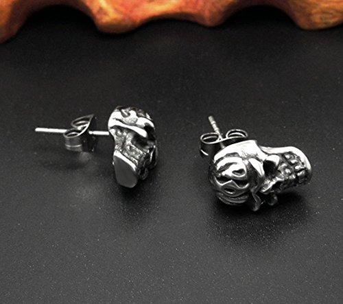 Fengteng Personnalité Retro Titanium Boucles D'oreilles Crâne D'acier