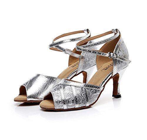 Håndlaget Cm 5 Sandaler Hæl Syntetiske Sølv Salsa Latin Ankelen Danse 7 Damer Mote Stroppen Minitoo 5xRO7Uz