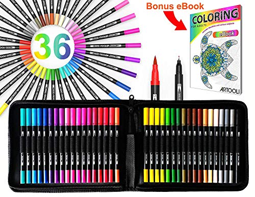 36 Dual Tip Brush Pens Art Markers Set Flexible Brush And 0.4mm Fineliner With Case – Coloring Journaling Lettering…