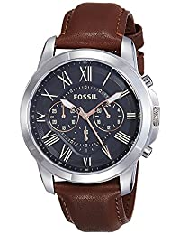 Fossil Men's FS4813 Grant Stainless Steel Watch with Leather Band