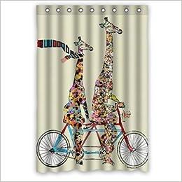 Baby Giraffe Riding Bike Shower Curtain Stylish Waterproof Polyester Fabric Bathroom Deco 48x72 6419812895980 Amazon Books