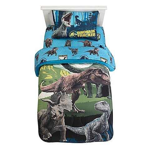 .Jurassic World. 2 Blue Fusion Children's Sheet Set, Scattered Roaring Dinosaurs Design, Snug Linens Create a Prehistoric Playground Perfect for Bedtime (Twin)