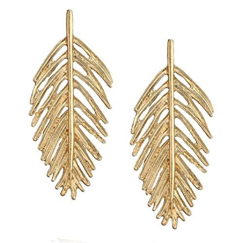 Gold Leaf Drop Earrings Women Girls Jewelry for Casual Wear or Formal Dress (Casual Earrings Gold)