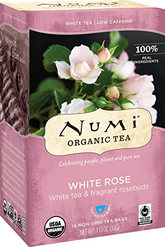 Numi Organic Tea--White Rose--16-Count Box of Tea Bags Non-GMO Biodegradable Tea Bags--Premium Organic Bagged White Tea --Drink Hot or Iced - Spice Roses