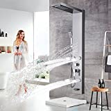 New MTN-G Stanless Stell Shower Panel Tower Rain Waterfall With Massager Body Jet Mix Tap