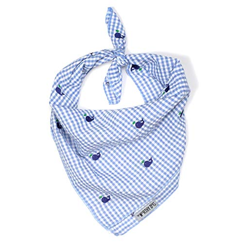 The Worthy Dog Blue and White Gingham Check with Embroidered Blue Whales Pattern Designer Tie On Bandana for Pet Dog Cat 21958-4283LG