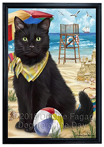 Pet Friendly Beach Black Cat Canvas Print Wall Art