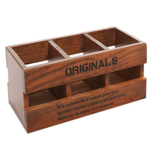 MyGift Rustic Wood Desk Organizer, 3 Compartment Office Supplies Caddy, Brown
