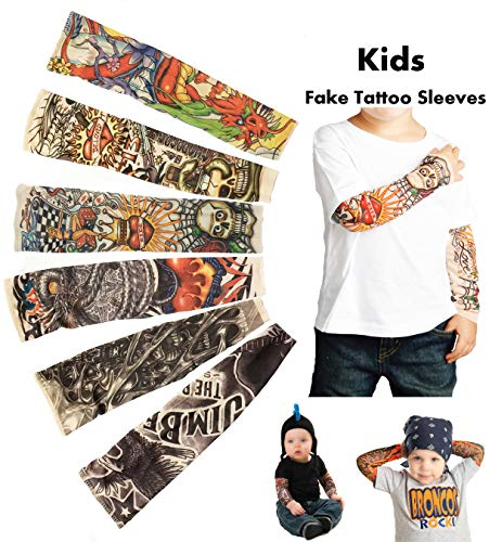 Rockstar Costumes Ideas For Boys - iToolai Temporary Tattoo Sleeves for Kids,