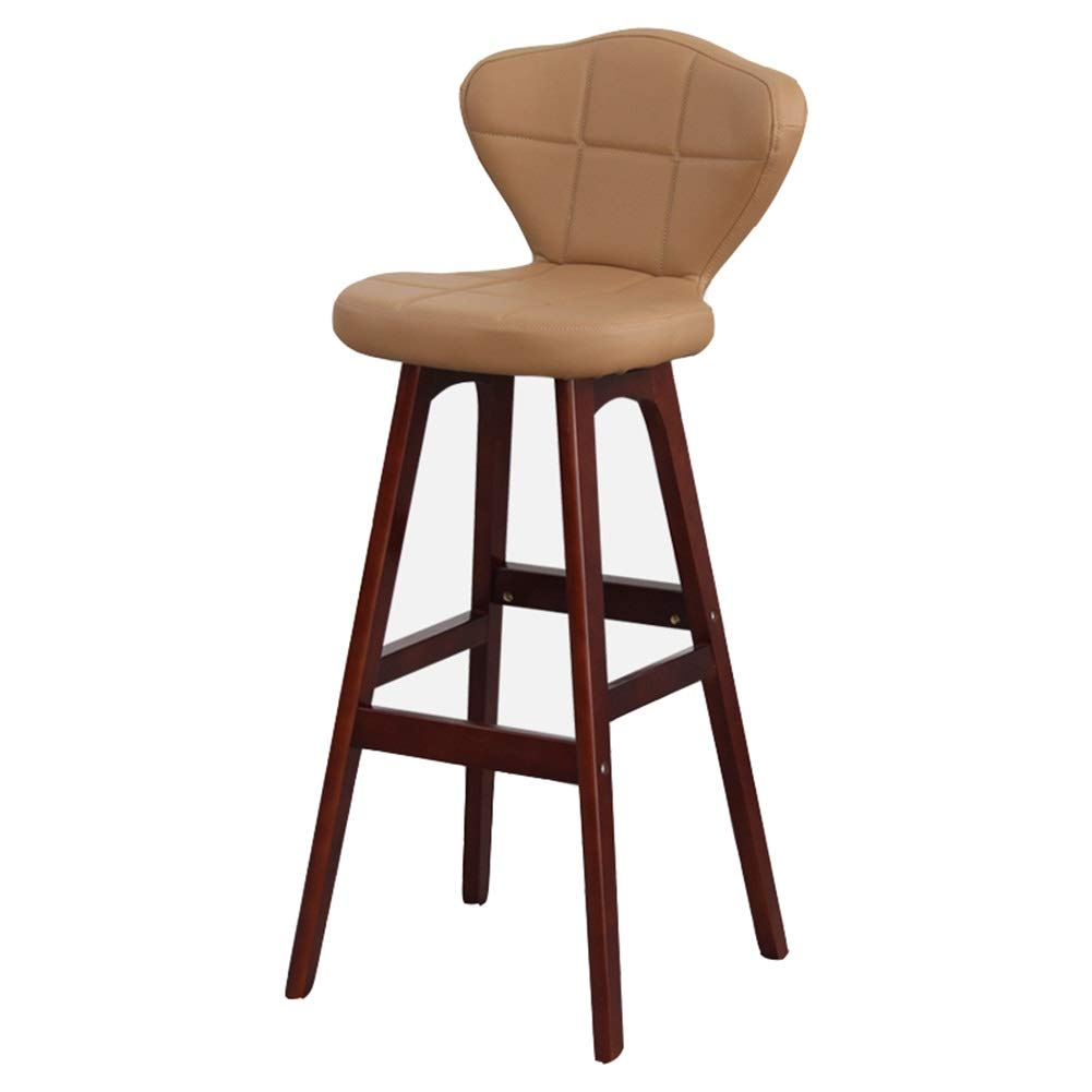Brown+beige PU 414177cm ZHAOYONGLI Barstools,Stools Solid Wood Barstool High Stool Comfortable Retro Bar Chair (color   Brown+Brownish PU, Size   41  41  77cm)