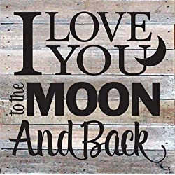"Artistic Reflections 10"" Square Reclaimed Primitive Wood Plaque - I Love You to the Moon and Back"
