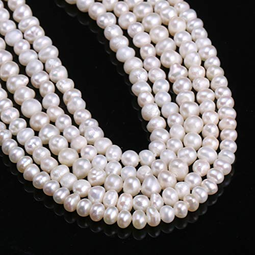 Natural Freshwater Round 100% Natural Cultured Pearls | for Jewelry Making | Necklaces, Bracelets (15 Inches, Size 3-4mm) ()