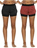 icyZone Running Yoga Shorts For Women - Activewear Workout Exercise Athletic Jogging Shorts 2-in-1 (Black Heather/Red Bud, L)