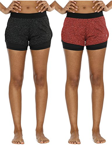 icyZone Running Yoga Shorts For Women – Activewear Workout Exercise Athletic Jogging Shorts 2-in-1 (Black Heather/Red Bud, L)