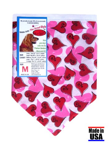 Dog Bandana – Valentine Hearts and Paws in Scout Style, Size Small, My Pet Supplies