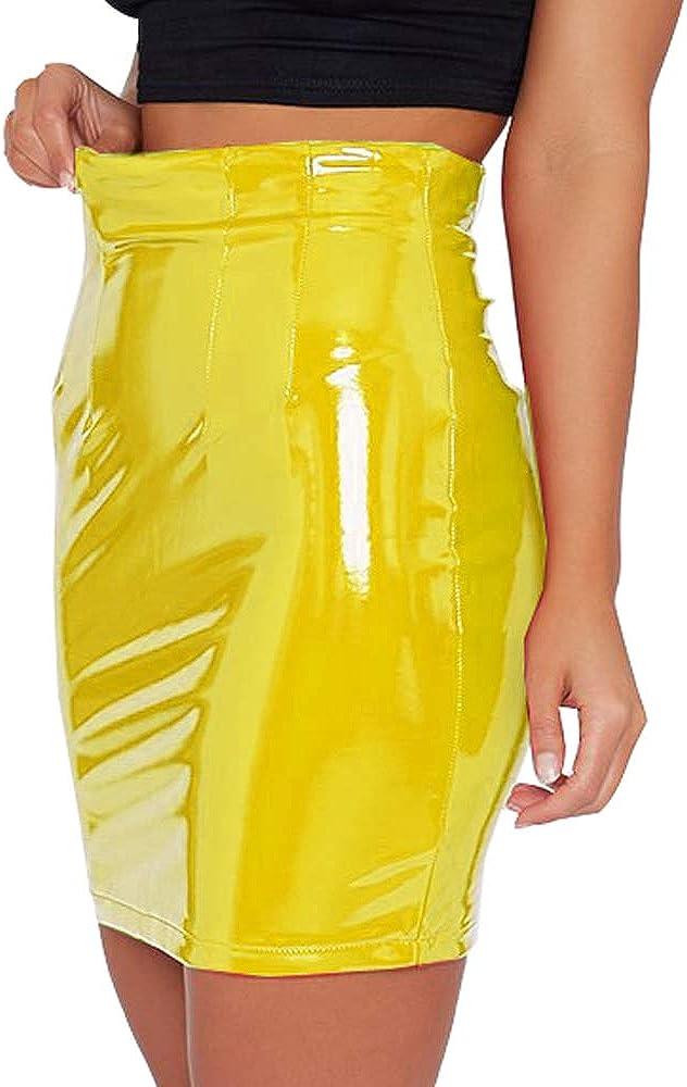 Justalwart Womens Black Leather Mini Skirt Slim Cut High Waist Elastic Pencil Latex Skirt with Zip Front