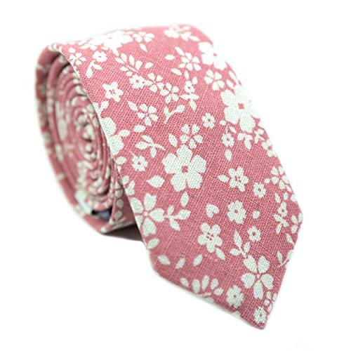 Bouquet Tie (DAZI Men's Skinny Tie Floral Print Cotton Necktie, Great for Weddings, Groom, Groomsmen, Missions, Dances, Gifts. (Blushing Bouquet))