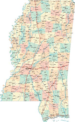 USWay 186567 Mississippi State Road MAP City County Jackson Decor Wall 24x18 Poster Print (Mississippi State Map With Cities And Counties)
