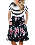 FANVOOK Dresses Women Work Casual,Pleated Flowy Hem Printed Rose Black XL