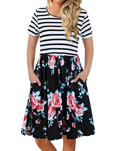 FANVOOK Women's Short Sleeve Patchwok Floral Dress Dresses with Pockets