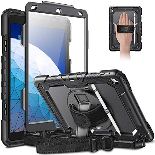 CaseBot Case for iPad Air 3rd Generation 2019/iPad Pro 10.5″ 2017 with Screen Protector, [360° Rotating Kickstand] Rugged Heavy Duty Shockproof Cover with Hand Shoulder Strap Pencil Holder, Black
