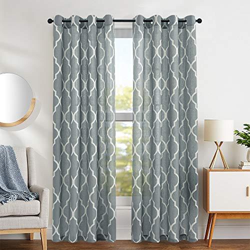 jinchan Moroccan Tile Print Curtains for Living Room Curtain - Lattice Flax Linen Blend Textured Grommet Quatrefoil Window Treatment Set for Bedroom Geometry - 50