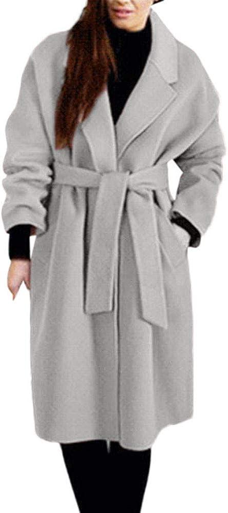 Parka Women,Womens Winter Lapel Wool Coat Trench Jacket Loose Lace Overcoat Outwear