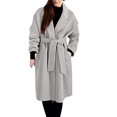 Damen Business Mantel Trenchcoat lang woll mantel wintermantel Jacke mit Gürtel