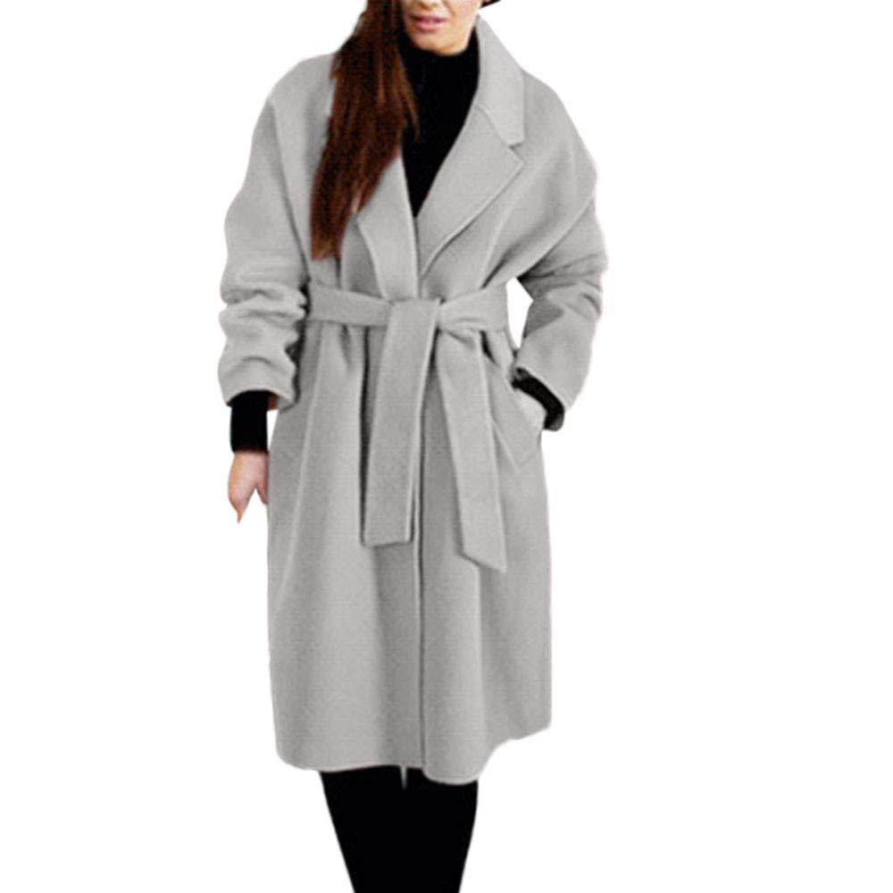Caopixx Women Outwear Winter Jacket Lapel Long Sleeve Jackets Long Trench Coat Pocket Overcoat with Belt Soft