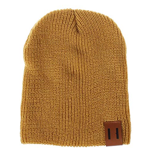 (NRUTUP Clearance Deals Men and Women Solid Color Wool Knit Hats Earmuffs Parent-Child Caps.(Yellow,Free)