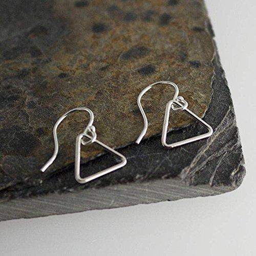 8mm Silver Triangle Drops, Tiny Earrings, Modern Jewelry, Triangle Earring, Dainty Earrings, Sterling silver, Minimalist Earrings, - Sterling Art
