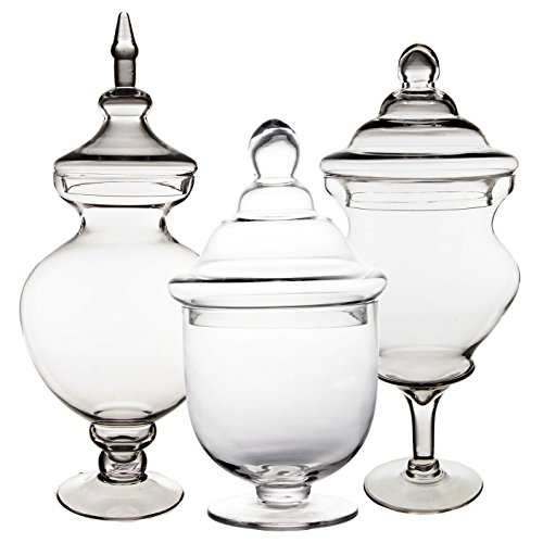CYS EXCEL Apothecary Jars, Candy Buffet Display, Elegant Storage Jars, 3 Different Styles & Sizes, Pack of 1 Set of 3, Baby Shower Decorations, Height are 14
