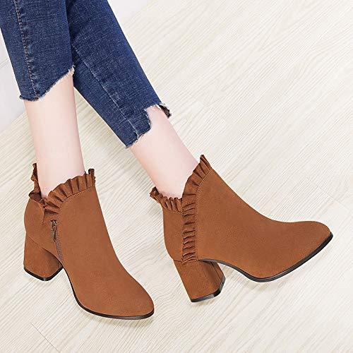 Zapatos Brown Otoño Tacon Terciopelo Gruesa Salvaje Invierno Scrub Martin Ajunr Botas De Transpirable Y Alto El 8xwSvZqA