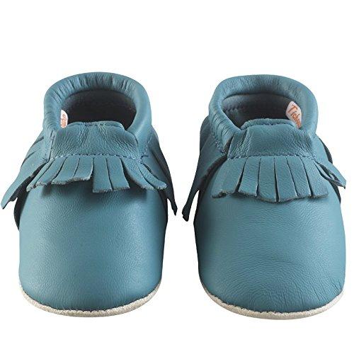 Tichoups chaussons cuir souple à franges bleu canard