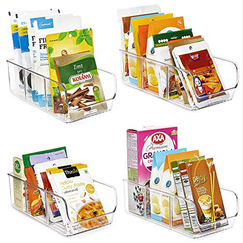 Vtopmart Food Packet Organizer Bins for Pantry Organization and Storage, 4 Pack Clear Plastic Holder for Organizing…