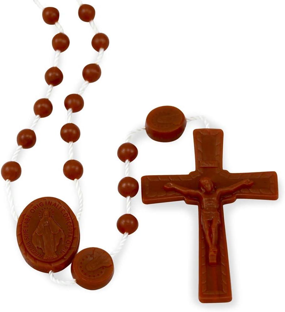 Miraculous Medal Plastic Beads Rosary Brown - BulkPack of 100 Rosaries - Made in Italy of Food Grade Nylon