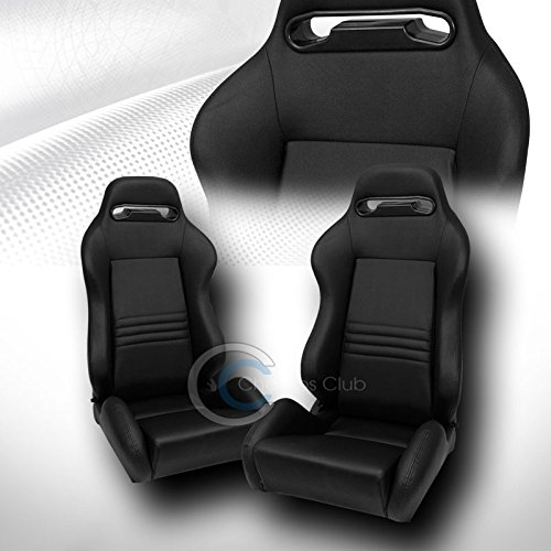 Scion Xb Racing Seats - 2X UNIVERSAL TR BLK STITCH PVC LEATHER RECLINABLE RACING BUCKET SEATS+SLIDER C01
