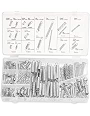 Eyech Spring Assortment Set 200 Pieces Zinc Plated Compression and Extension Springs for Shops and Home Repairs Replacement Kit