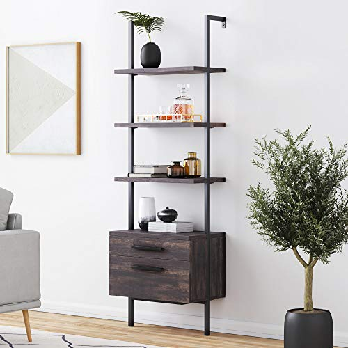 Nathan James 65801 Theo Industrial Bookshelf with Wood Drawers and Matte Steel Frame, Warm Nutmeg/Black
