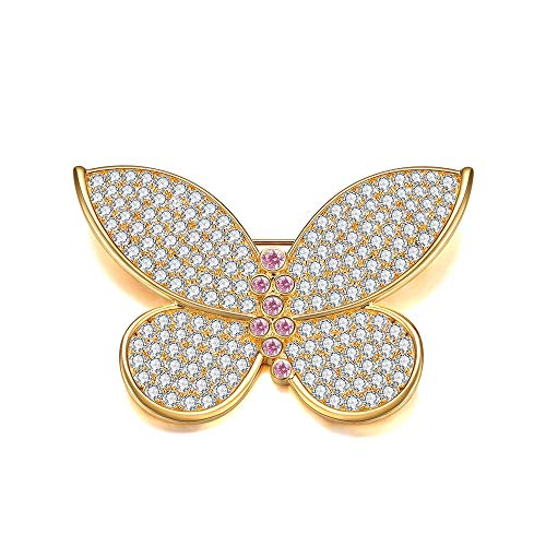 Italina Fashion Jewelry Butterfly Shaped White Bright Cubic Zirconia Stones Brooches Pins for Women Ladies Butterfly Cubic Zirconia Brooch
