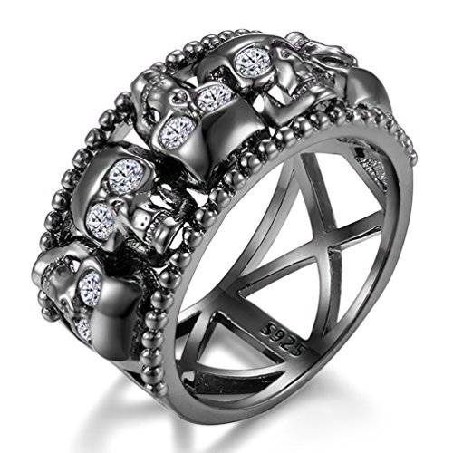 (FENDINA Women's Skull CZ Band Style Rings 925 Sterling SIlver Plated Statement Cocktail Rings Black (9))