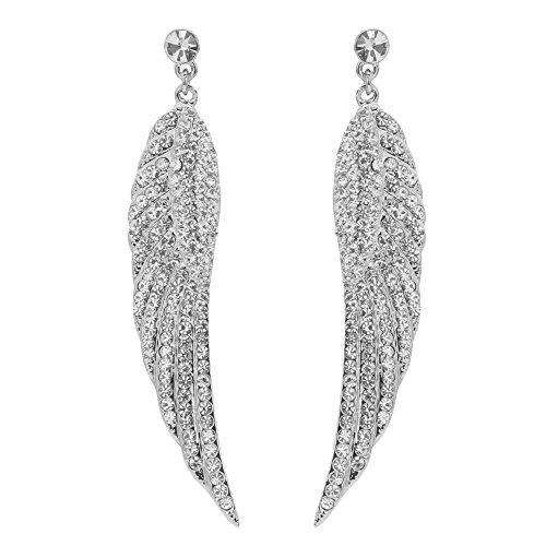 Silver Tone White Earrings - TTjewelry Beautiful Angel Wing Hoop Dangle Earrings Austrian Crystal (White (Silver-tone))