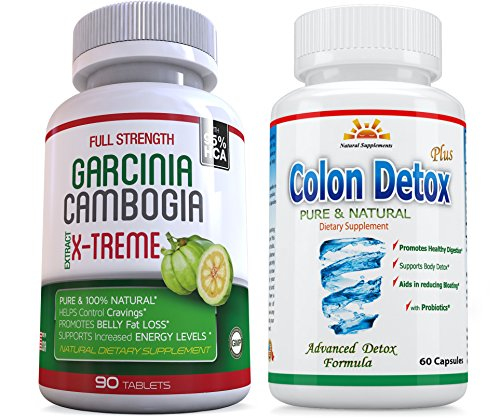 Lean Xtreme 90 Caps (95% HCA 120 Veg.Caps 2 Garcina Cambogia X-Treme plus FREE Colon Detox, 2 Months Supply, Weight Loss, Fat Burner, Diet Pills, Carb Blocker, Appetite Control, Natural Diet Pills, SAME DAY SHIPPING)