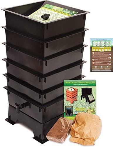 Worm Factory DS5BT 5-Tray Worm Composting Bin Bonus What Can Red Wigglers Eat Infographic Refrigerator Magnet – Vermicomposting Container System – Live Worm Farm Starter Kit for Kids Adults